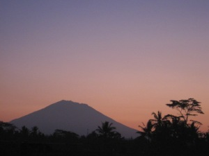 Mt Agung Bali, early morning as seen from my village of Penestanan, Bali.